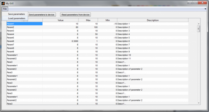 Graphical user interface for Matlab FPGA motor controller (A.Minano )