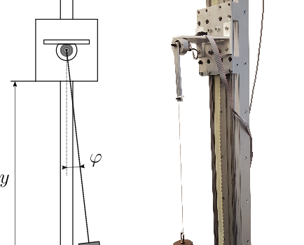 experimental set-up for suspended payload sway damping by moving a pivot base in vertical direction